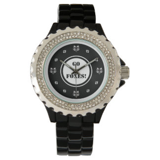 """""""Go Foxes"""" foxhead and foxpaw logo Wristwatch"""