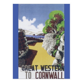 Go Great Western to Cornwall Vintage Travel Poster Postcard