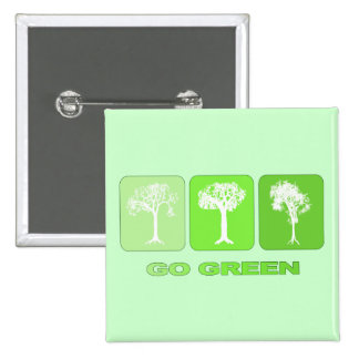 Go Green 15 Cm Square Badge