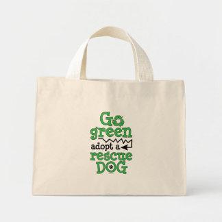 Go green, adopt a rescue dog mini tote bag