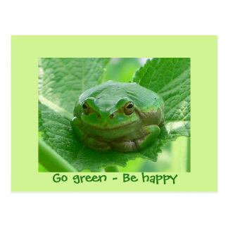 Go green - be happy  - smiling green frog postcard