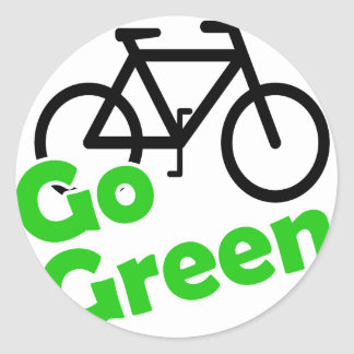 go green bicycle round stickers