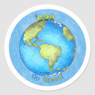 Go Green - Earth Day Classic Round Sticker