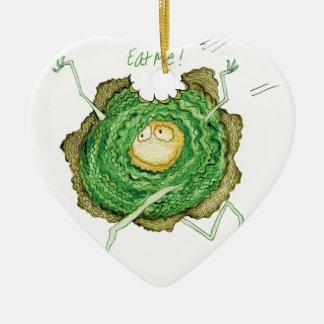 Go Green - Eat Me!, tony fernandes Ceramic Heart Decoration