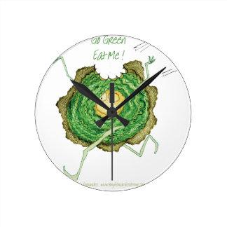 Go Green - Eat Me!, tony fernandes Round Clock