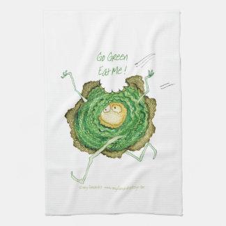 Go Green - Eat Me!, tony fernandes Tea Towel