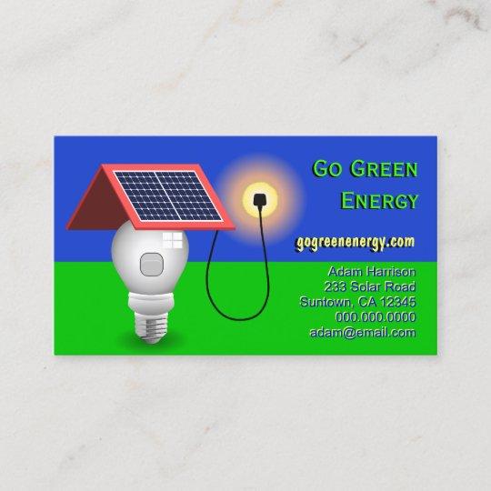 Go green energy solar power business cards zazzle go green energy solar power business cards reheart Choice Image