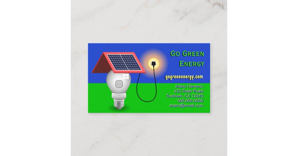 Go Green Energy Solar Power Business Cards | Zazzle.co.uk