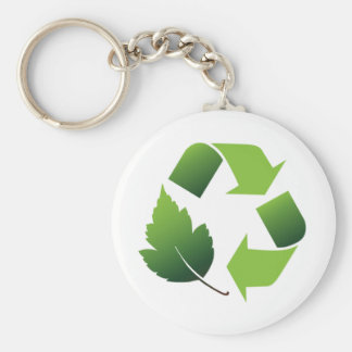 Go Green Environment Basic Round Button Key Ring