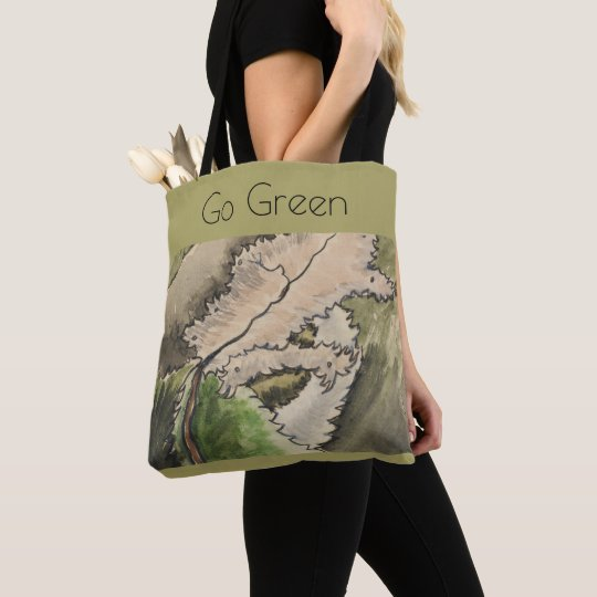 go green, environment,woodland scene tote bag