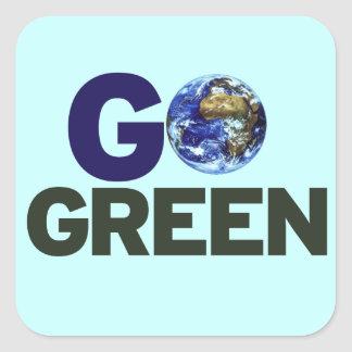 Go green for earth day square sticker