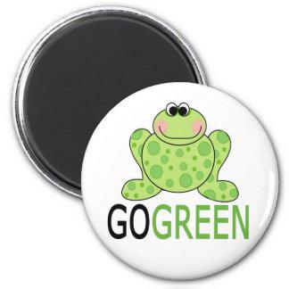 GO GREEN Frog 6 Cm Round Magnet