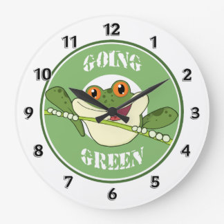 Go Green Frog Large Clock