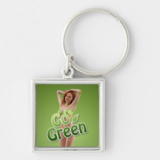 Go Green Girl Belle Silver-Colored Square Key Ring