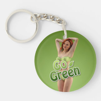 Go Green Girl Belle Single-Sided Round Acrylic Key Ring