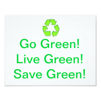 Go Green 11 Cm X 14 Cm Invitation Card