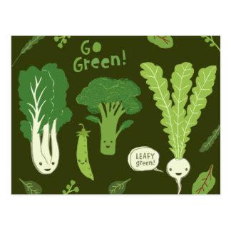 Go Green! (Leafy Green!) Healthy Garden Vegetables Postcard