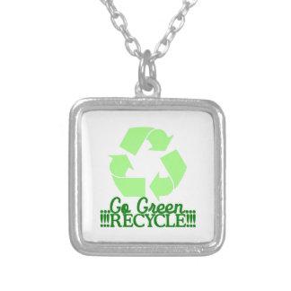 Go Green Square Pendant Necklace