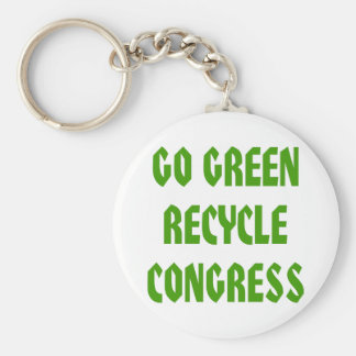 Go Green Recycle Congress Basic Round Button Key Ring