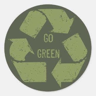 Go Green Recycle Logo Round Sticker