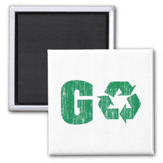 Go Green Recycle Square Magnet