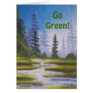 Go Green River Pine Forest Painting Card
