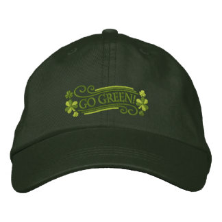 Go Green Shamrocks and Text Embroidered Cap