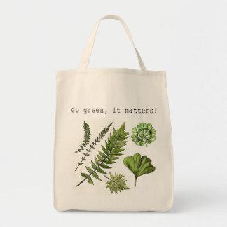 Go green shopping bag with watercolour art