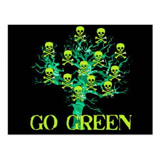 Go Green Skulls Postcard