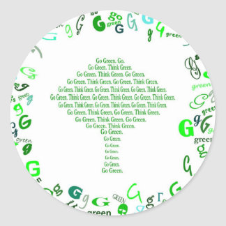 GO GREEN THINK GREEN Tree in Letter G Round Stickers