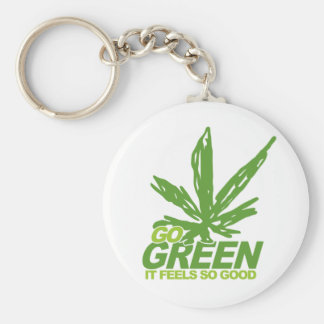 Go Green Weed Basic Round Button Key Ring