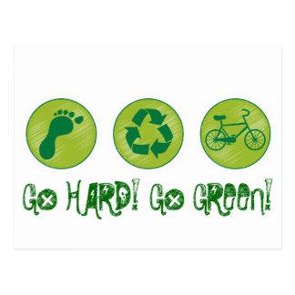 Go HARD, GO GREEN Postcard