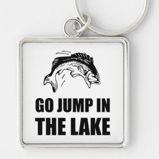 Go Jump In Lake Silver-Colored Square Key Ring