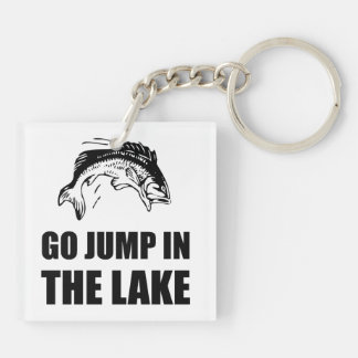 Go Jump In Lake Double-Sided Square Acrylic Key Ring
