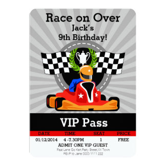 GO KART Birthday invitation! 13 Cm X 18 Cm Invitation Card