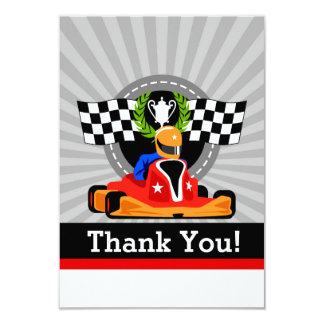 GO KART Birthday Party Thank You cards 9 Cm X 13 Cm Invitation Card