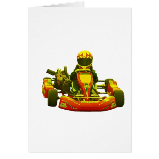 Go Kart Racer in Yellow Greeting Card