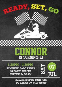 Go Karting Themed Birthday Party Invitation