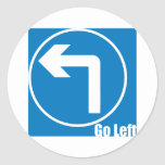 go left classic round sticker