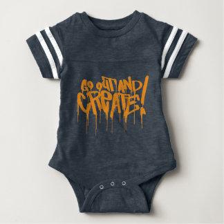 go out and create orange graffiti art baby bodysuit
