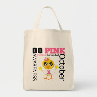 Go Pink For Breast Cancer Awareness Month Grocery Tote Bag