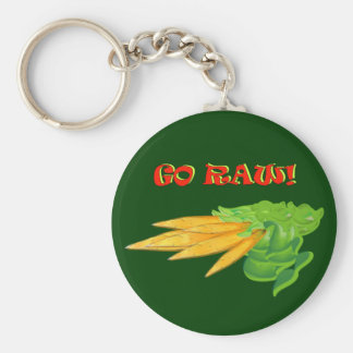 GO RAW-Carrots on green Key Chains