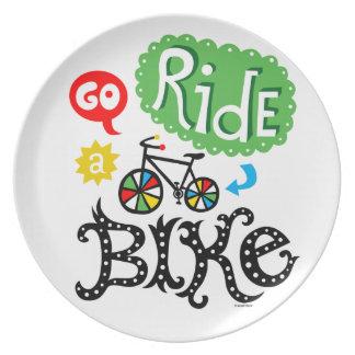 Go Ride a Bike - melamine plate