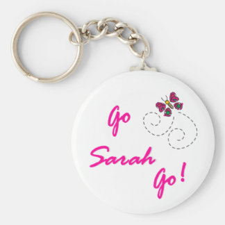 Go Sarah Go! Butterfly Basic Round Button Key Ring