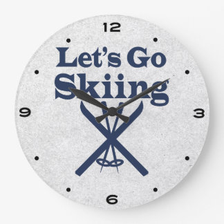 Go Skiing Large Clock