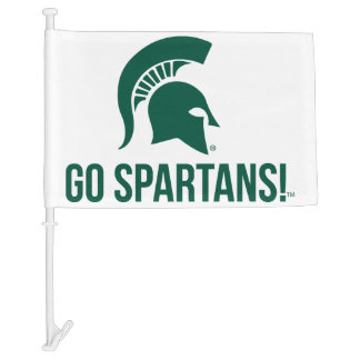 Go Spartans Michigan State University Car Flag