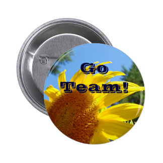 Go Team! button Cheering buttons Sunflowers