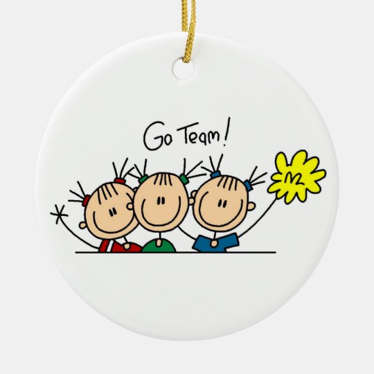 Go Team Cheerleaders T-shirts and Gifts Round Ceramic