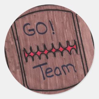 go team football round sticker