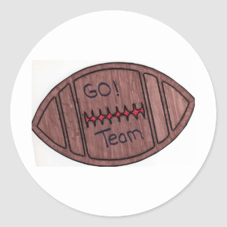 go team football round sticker